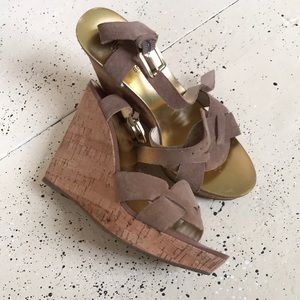 Michael Kors Camel Suede and Cork Platforms